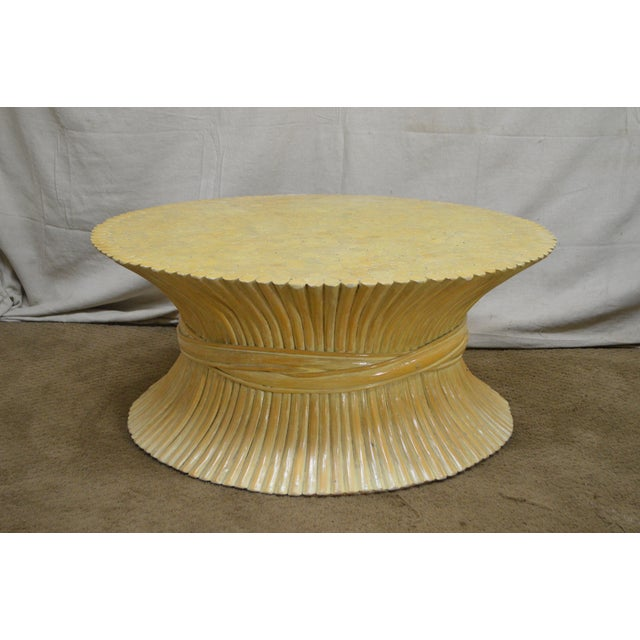 McGuire Style Mid Century Modern Round Wheat Sheaf Rattan Coffee Table - Image 6 of 13
