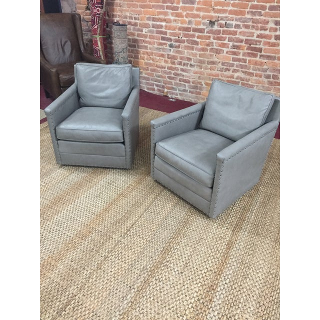 Modern Lee Industries Leather Club Swivel Chair- A Pair For Sale - Image 11 of 13