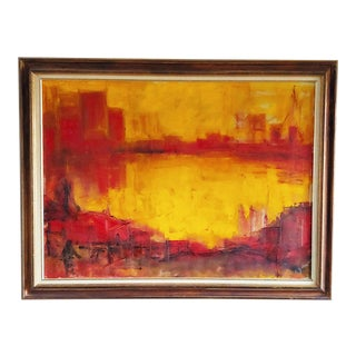 Original Abstract Painting Cityscape Skyline Bridge Signed Eleanor Johnson For Sale