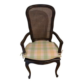 French Cane Vintage Arm Chair With Custom Cushion For Sale