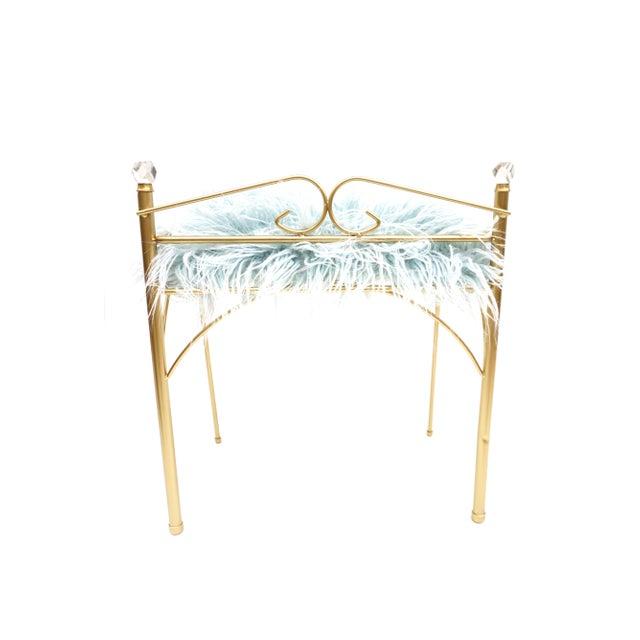 Vintage Vanity Bench | Gold Metal & Light Blue Faux Fur Boudoir Chair For Sale In Los Angeles - Image 6 of 9