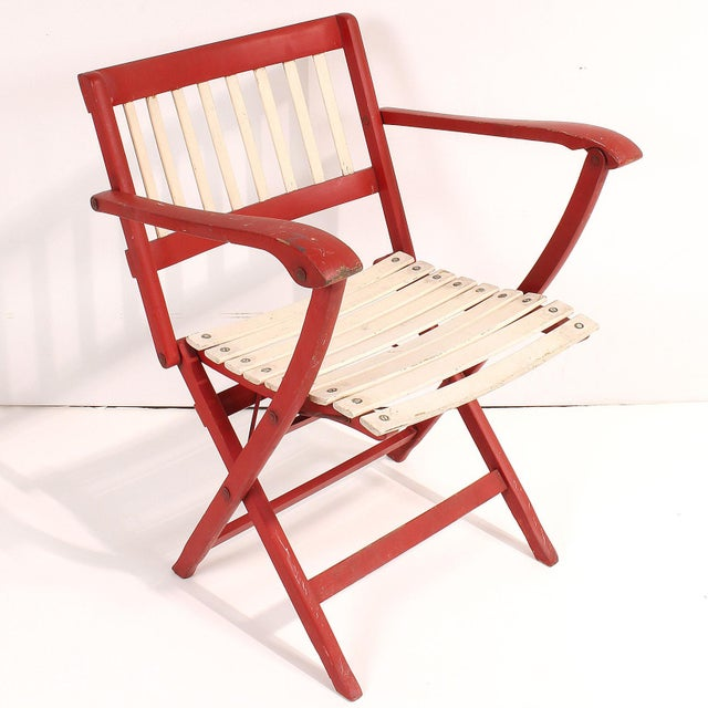 Red 1950s Fratelli Reguitti Folding Deck Chairs - Set of 4 For Sale - Image 8 of 10