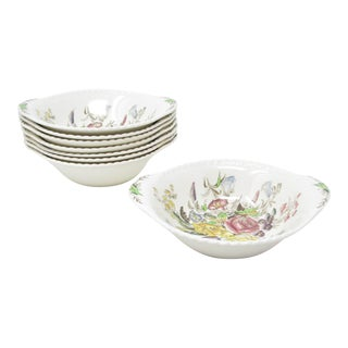 Vintage Johnson Brothers Garden Bouquet Lugged Bowls - Set of 8 For Sale