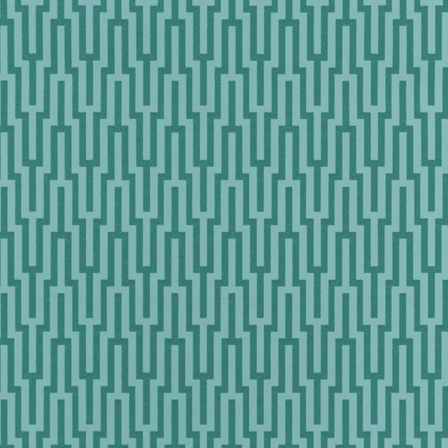 Contemporary Schumacher Metropolitan Fret Wallpaper in Turquoise For Sale - Image 3 of 3