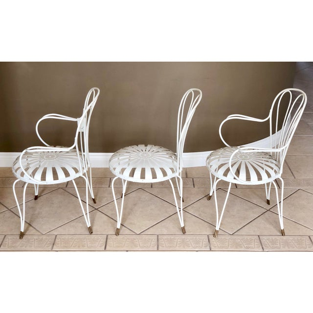 1930s Vintage French Art Deco Francois Carre White and Gold Sunburst Garden  Chairs - Set of 3