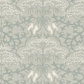 "Lewis & Wood Bella Smoke Extra Wide 52"" Damask Style Wallpaper For Sale"
