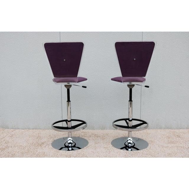 2000 - 2009 Purple Suede & Acrylic Shlomi Haziza Barstools - A Pair For Sale - Image 5 of 13
