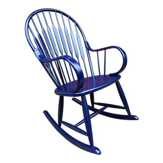 1970s Danish Modern Royal Blue Lacquered Peacock Rocking Chair