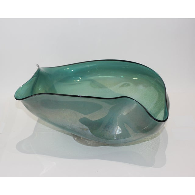 Artisan Glass Biomorphic Form Bowl Silver Flecks For Sale In West Palm - Image 6 of 13