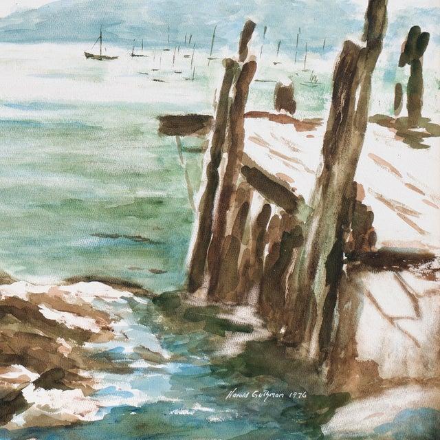 Harold Guthman Vintage 1973 Safe Harbor Painting For Sale - Image 4 of 7