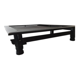 Asian Japanese Low Platform Bed in Black Solid Wood, Tatami Queen Size