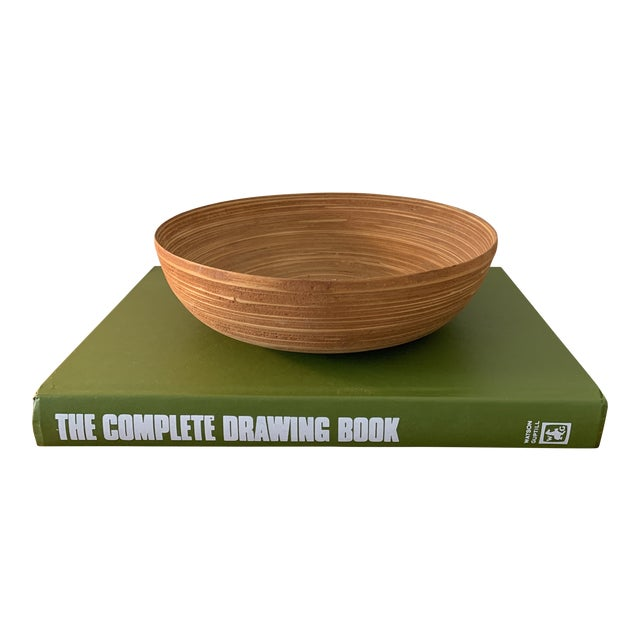 Vintage Wooden Bamboo Bowl For Sale
