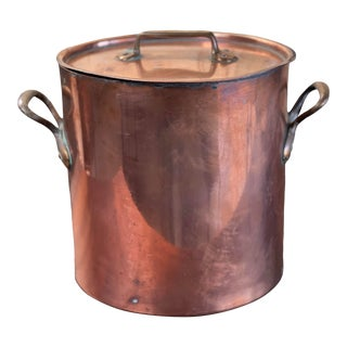 19th Century French Copper Stock Pot With Lid For Sale