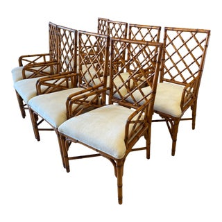 McGuire Style Bamboo Dining Chairs - Set of 8 For Sale