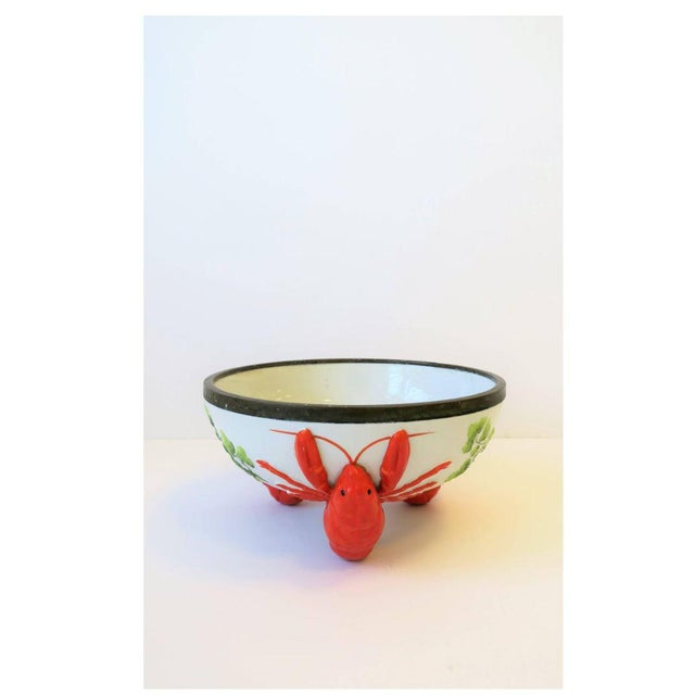 American French Limoges Majolica Style Lobster Decorated Serving Bowl For Sale - Image 3 of 10