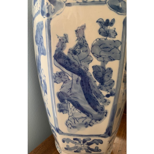 Chinoiserie Blue and White Ceramic Vase For Sale - Image 4 of 6