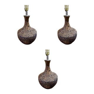 Three Assorted Mid-Century Cork Lamps For Sale