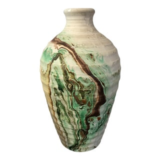 Nemadji Tall Green and Brown Swirl Vase For Sale