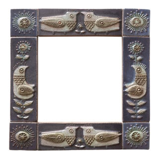 1950s Bird Motif Stoneware Tile Mirror For Sale