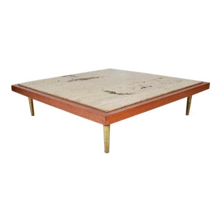 Mexican Modernist Travertine Stone Coffee Table Attributed to Arturo Pani For Sale