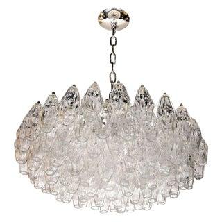 Modernist Handblown Translucent Murano Glass Polyhedral Chandelier For Sale