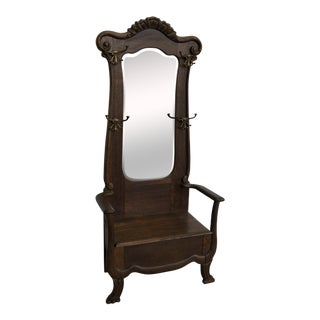 Antique Oak Hall Tree With Mirror and Storage Bench For Sale