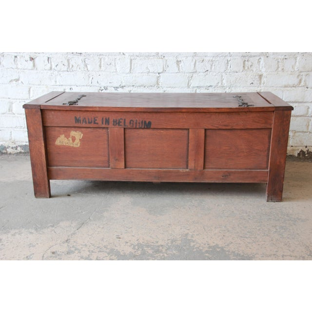Antique Belgian Gothic Revival Carved Oak Blanket Chest, Circa 1900 For Sale - Image 11 of 13