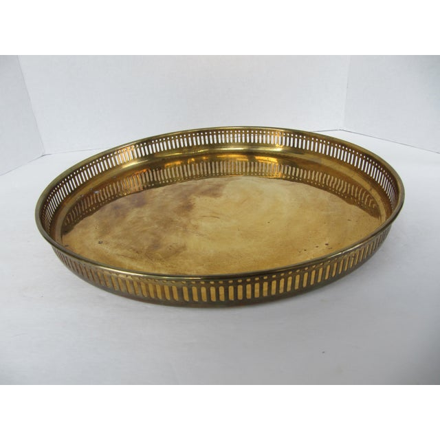Gold Large Round Vintage Brass Tray For Sale - Image 8 of 8