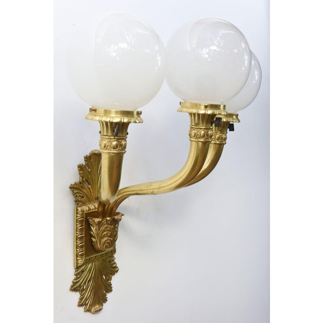 1900s Cast Brass Early Electric Sconce For Sale - Image 5 of 11