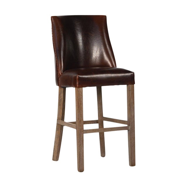Leather Upholstered Bar Stool - Image 1 of 2