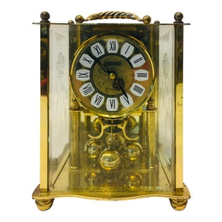 Vintage Brass Sloan Quartz Mantle Clock For Sale