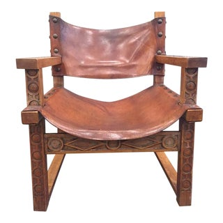 Vintage Spanish Baroque Leather Armchair