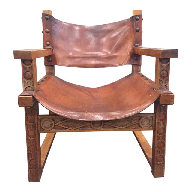 Vintage Spanish Baroque Leather Armchair For Sale