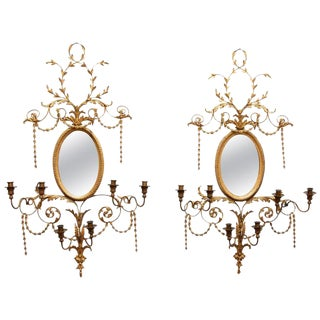 Adams Style Gilt Mirrors With Sconces - a Pair For Sale