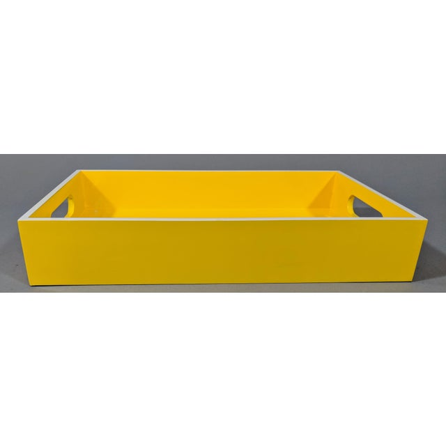 Early 21st Century Yellow and White Lacquered Tray For Sale - Image 5 of 10