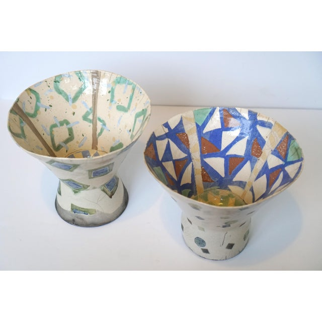 Rustic Patterned Pottery Vases - A Pair - Image 3 of 8