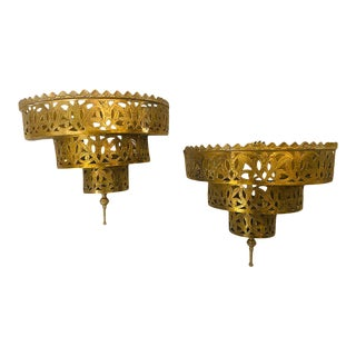1970s Moroccan Demilune Brass Wall Sconces - a Pair For Sale