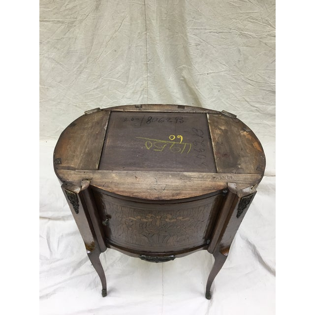 Antique French Inlaid Marble Top and Decorative Bronze Ormolu Side Table For Sale - Image 11 of 12
