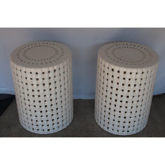 1980s 1980s Hollywood Regency Basketweave Ceramic Garden Stools - a Pair For Sale - Image 5 of 5