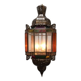 Moroccan Brass Light Fixture With Amber Colored Stained Glass For Sale