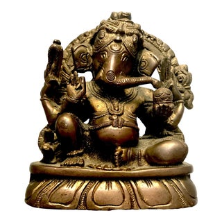 Mid-Century Indian Brass Statue of Ganesha For Sale