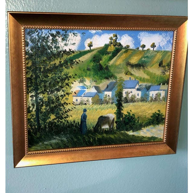 A small French replica painting of Camille Pissarro a Danish-French Impressionist and Neo-Impressionist painter whom...