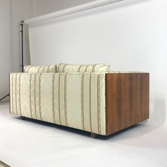Floating Milo Baughman Cased Rosewood Tuxedo Sofas / Settees-2 Available For Sale - Image 11 of 13