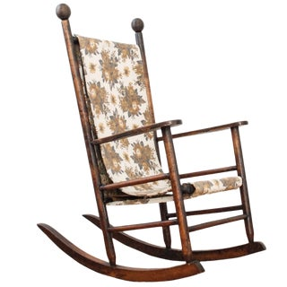 Antique Victorian Child's Rocking Chair With Original Fabric Sling Seat For Sale