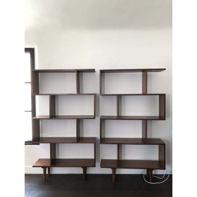 2010s Mid Century Modern Walnut Bookshelves - A Pair For Sale - Image 5 of 5