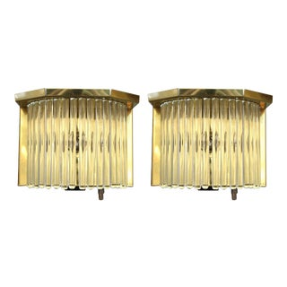 Sciolari Italian Brass and Glass Rod Sconces - a Pair For Sale