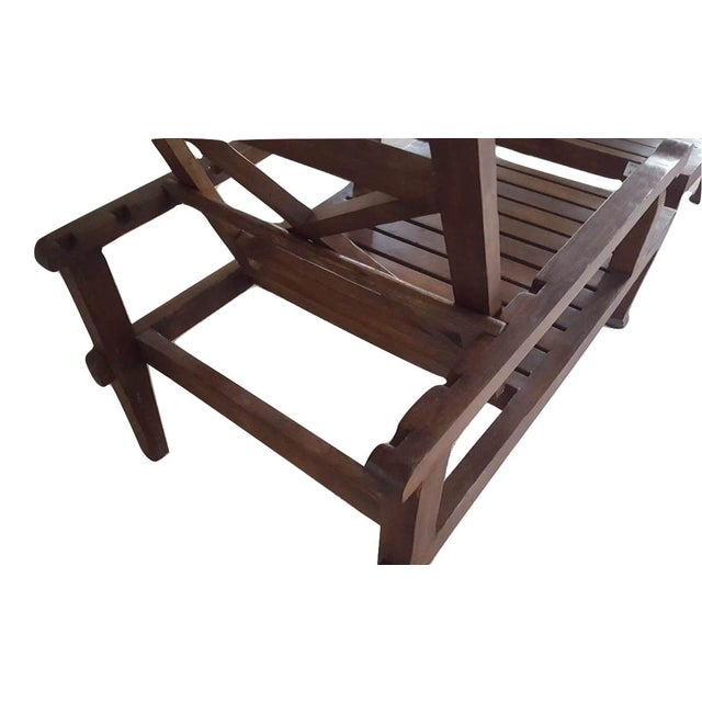 Teak Wood Reclining Luxury Lounger With Ottoman For Sale - Image 5 of 6