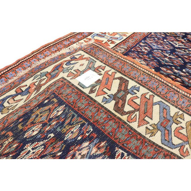 Textile 19th Century Persian Kazak Tribal Hallway Runner - 3′4″ × 8′10″ For Sale - Image 7 of 9