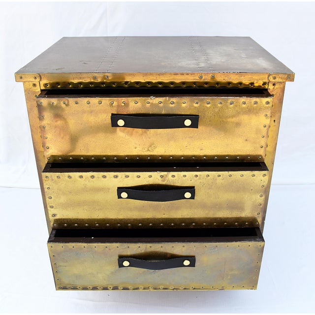 1960s Sarreid Brass 3-Drawer Chest For Sale - Image 5 of 8