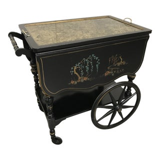 1950s Vintage Chinoiserie Tea Cart For Sale